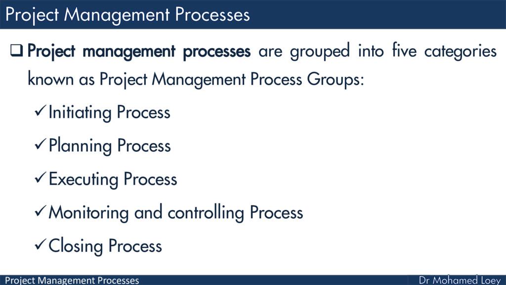 Project Management Processes  Project manageme...