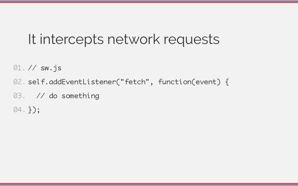 It intercepts network requests / / s w . j s s ...