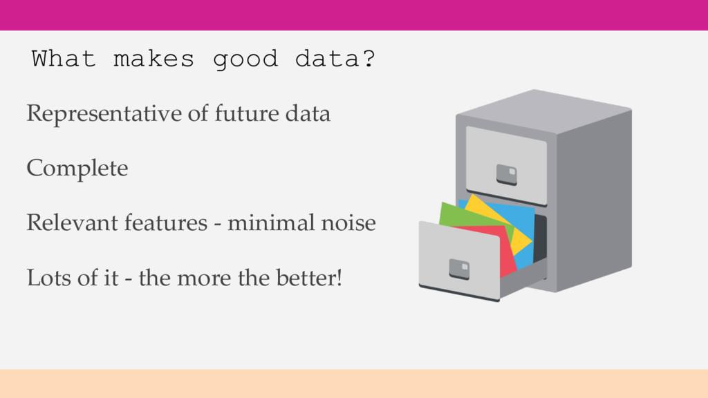 What makes good data? Representative of future ...