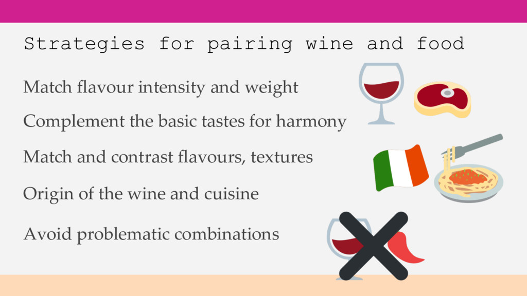 Strategies for pairing wine and food Origin of ...
