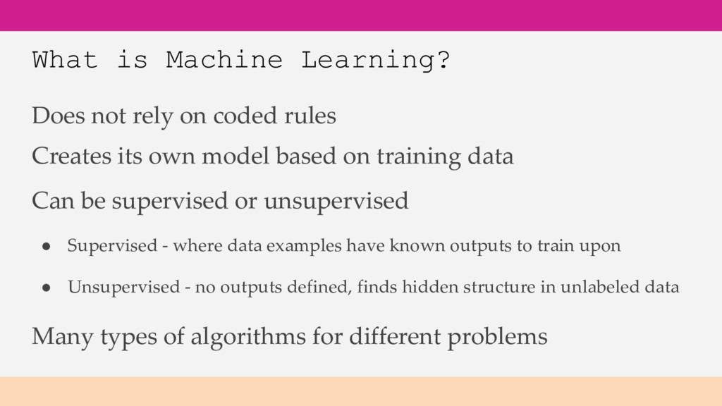 What is Machine Learning? Does not rely on code...