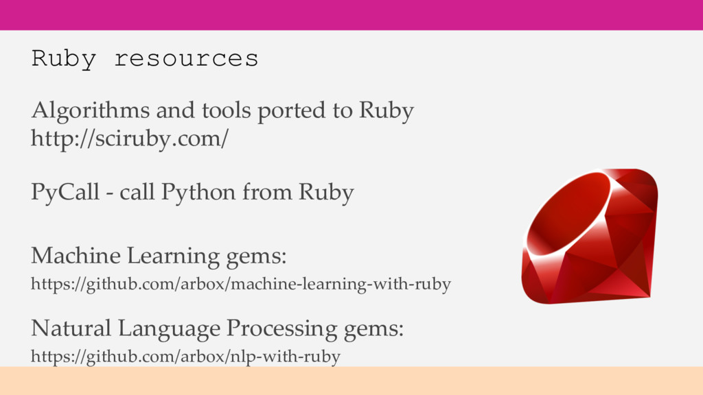 Ruby resources Algorithms and tools ported to R...