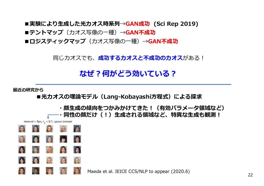 22 ■実験により⽣成した光カオス時系列→GAN成功 (Sci Rep 2019) ■テントマ...