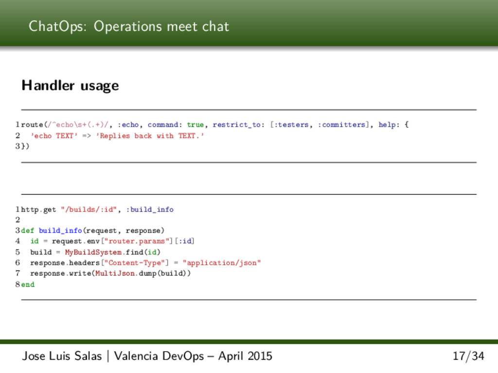ChatOps: Operations meet chat Handler usage 1 r...