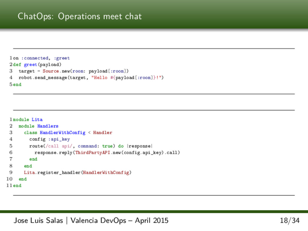 ChatOps: Operations meet chat 1 on :connected, ...