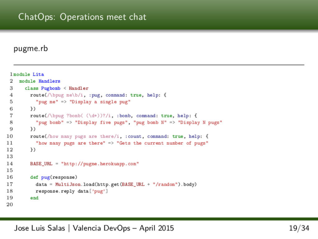 ChatOps: Operations meet chat pugme.rb 1 module...