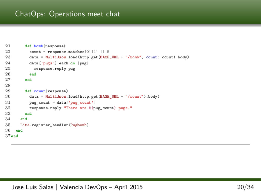ChatOps: Operations meet chat 21 def bomb(respo...