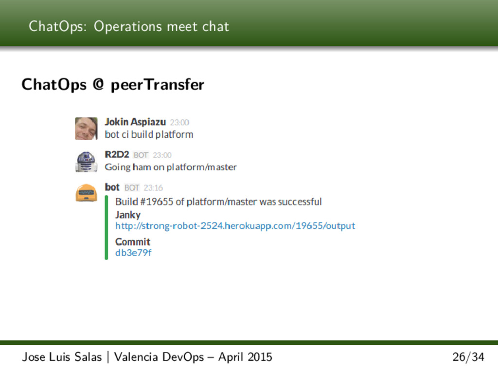 ChatOps: Operations meet chat ChatOps @ peerTra...