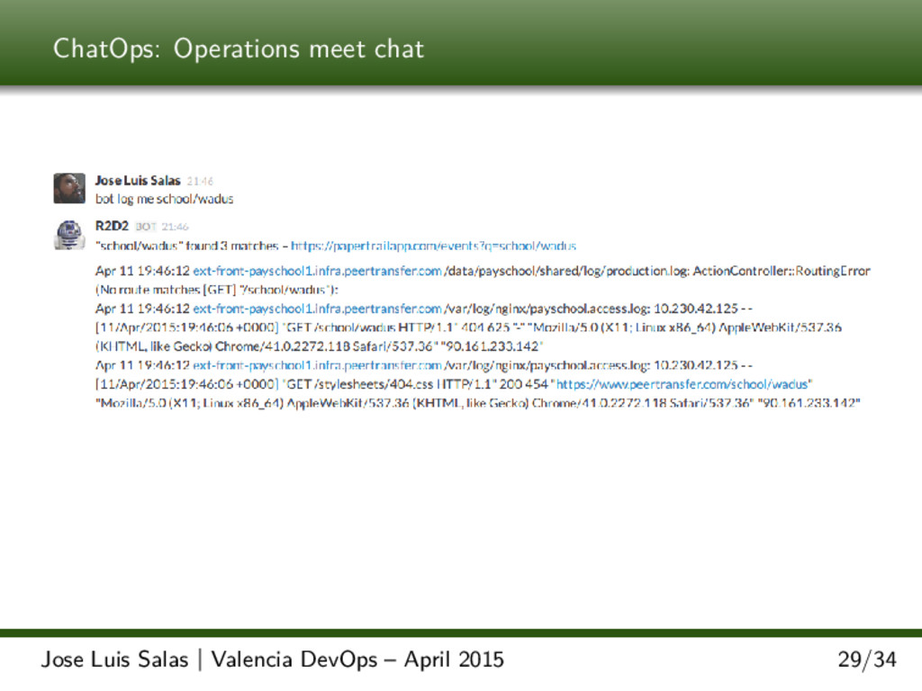ChatOps: Operations meet chat Jose Luis Salas |...
