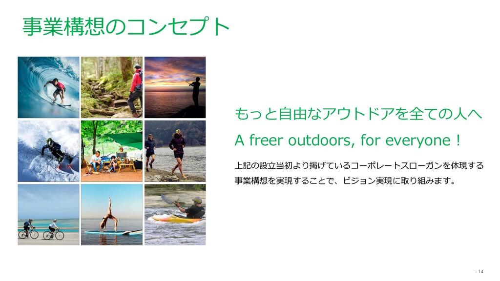 - 14 もっと自由なアウトドアを全ての人へ A freer outdoors, for ev...