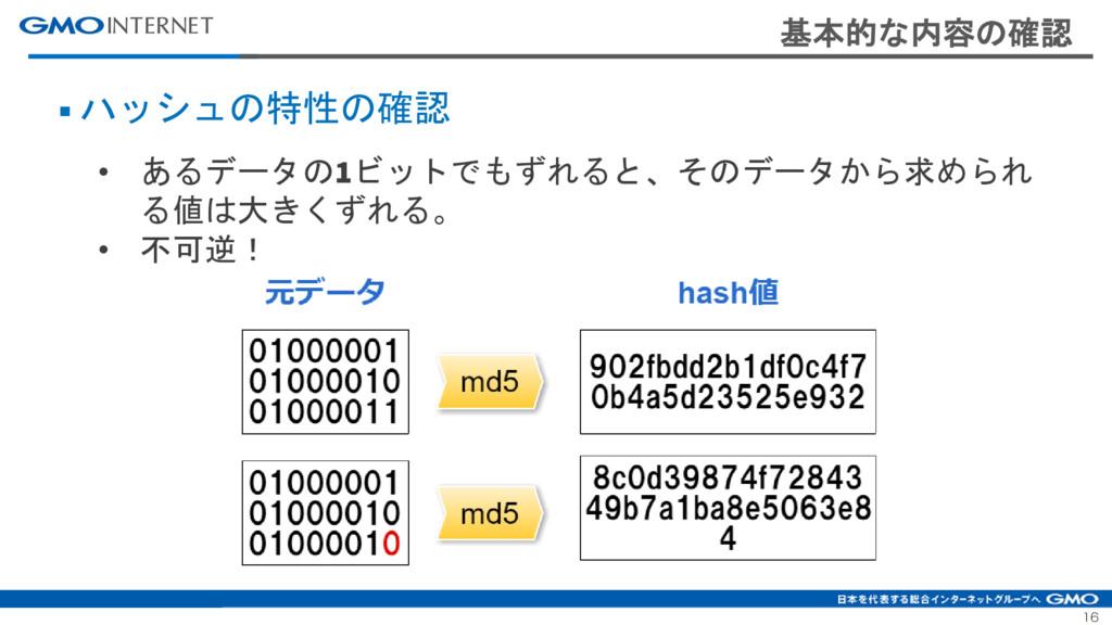 16 基本的な内容の確認 ■ ハッシュの特性の確認 • あるデータの1ビットでもずれると、その...