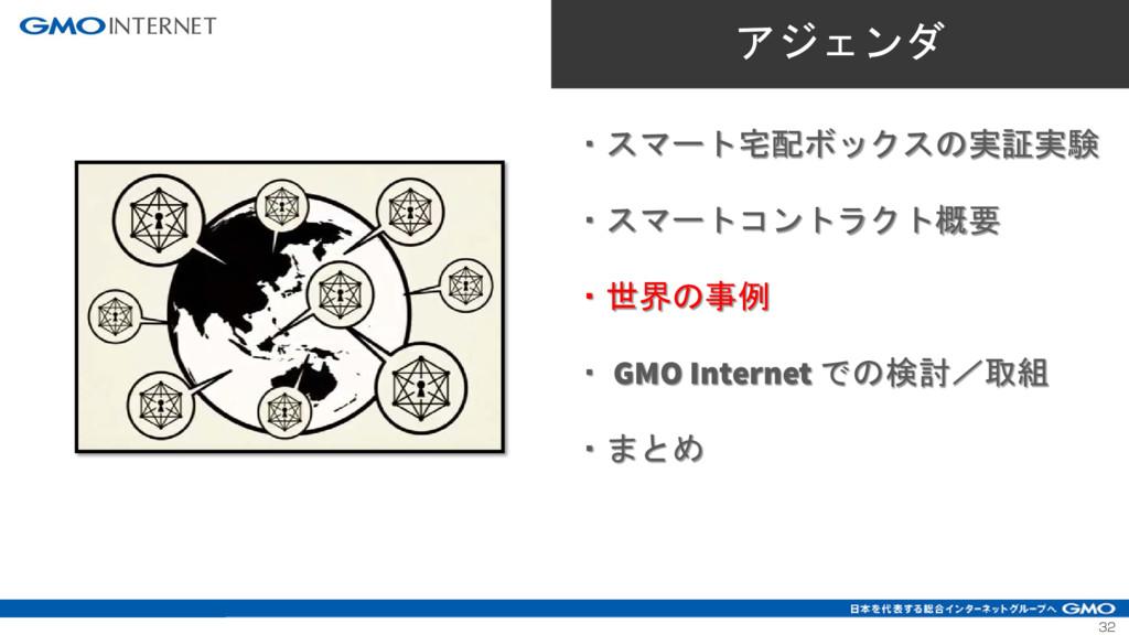 32 ・スマート宅配ボックスの実証実験 ・スマートコントラクト概要 ・世界の事例 ・ GMO ...