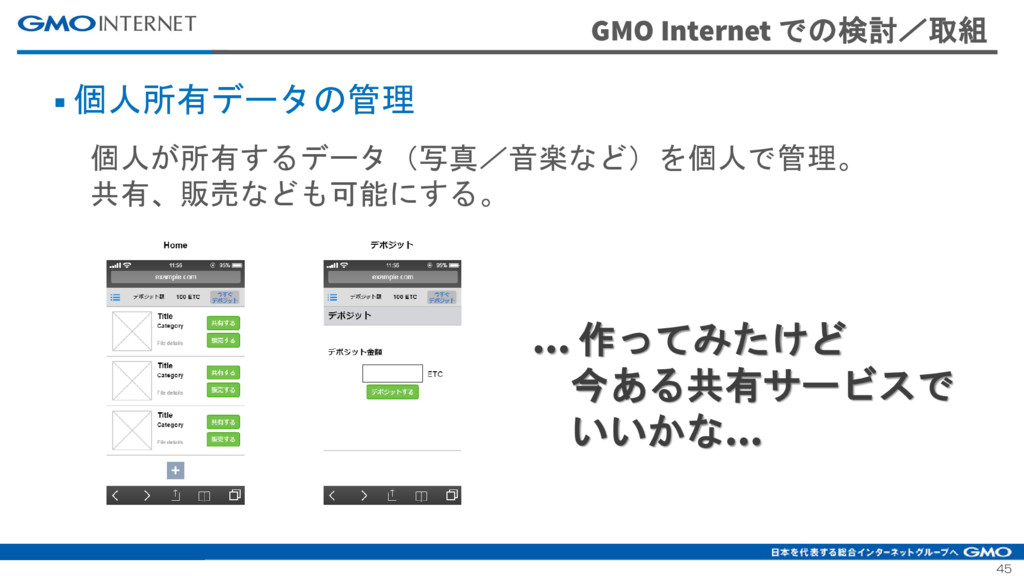 45 GMO Internet での検討/取組 ■ 個人所有データの管理 個人が所有するデータ...