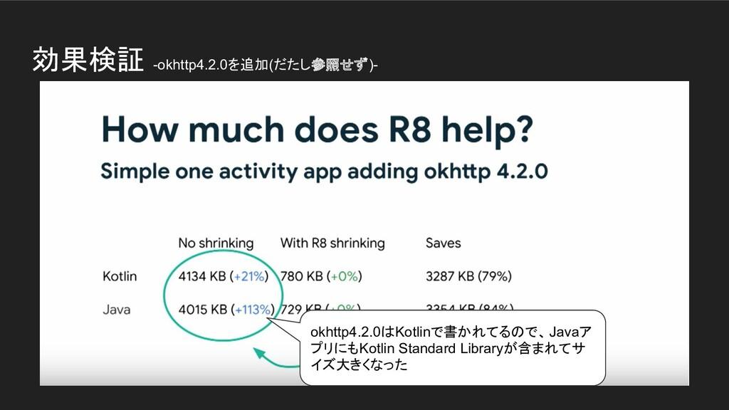 効果検証 -okhttp4.2.0を追加(だたし参照せず)- okhttp4.2.0はKotl...