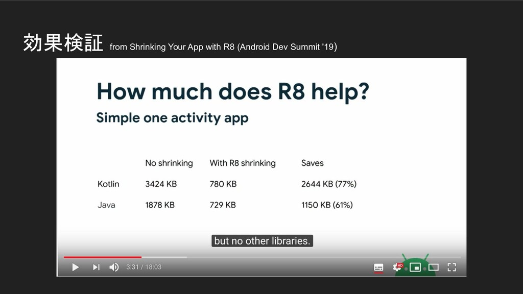 効果検証 from Shrinking Your App with R8 (Android D...