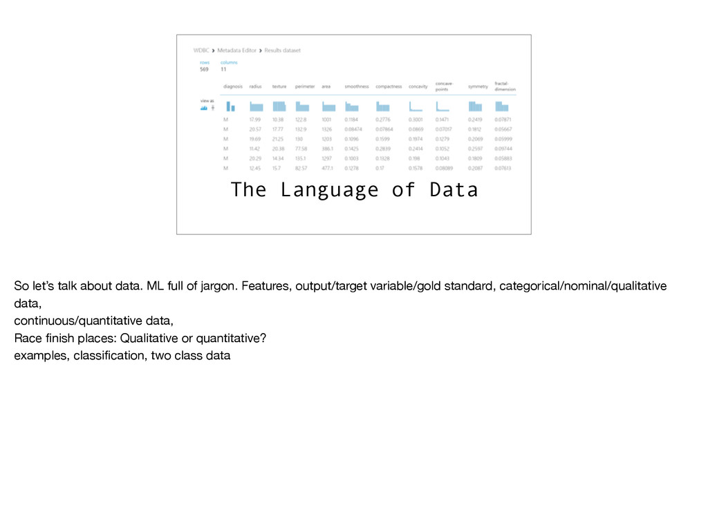 The Language of Data So let's talk about data. ...