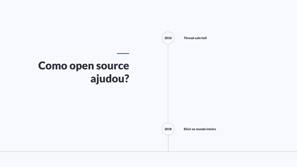 Como open source ajudou? 2010 2018 Thread-safe ...