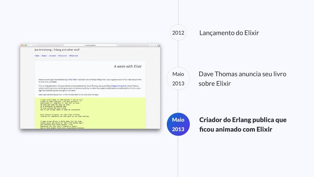 2012 Lançamento do Elixir Maio 2013 Criador do ...