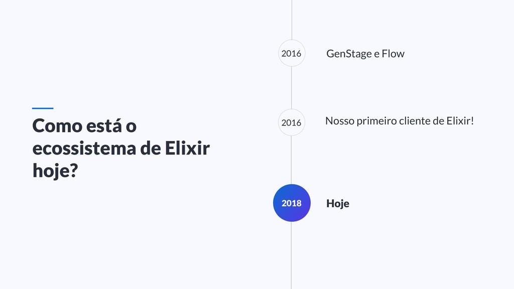 GenStage e Flow 2018 Hoje Nosso primeiro client...