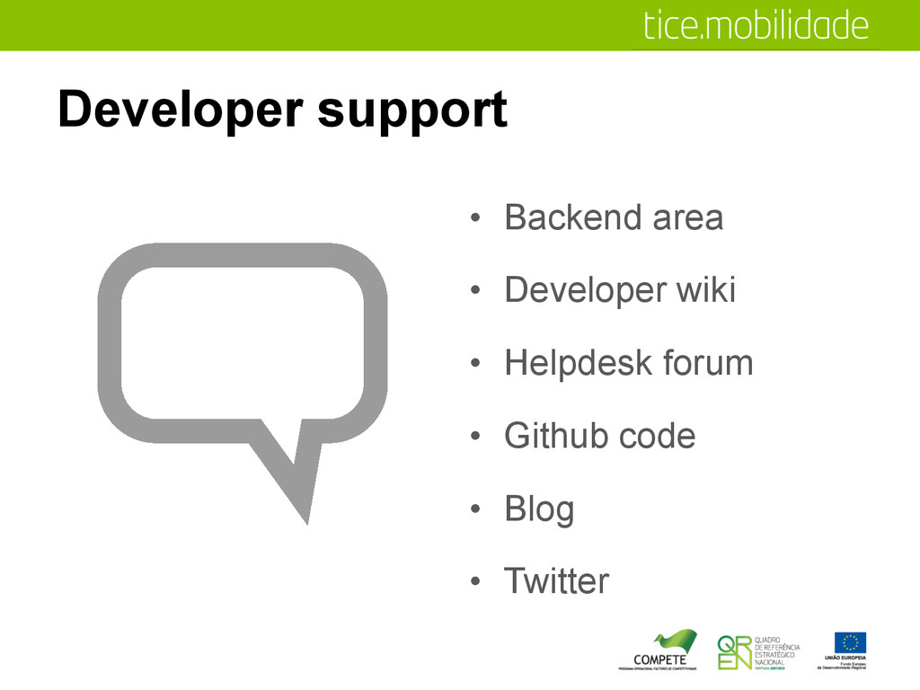 Developer support •  Backend area •  Developer ...