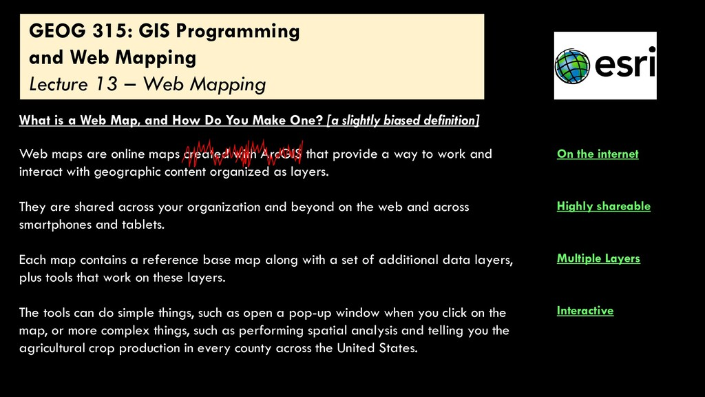 GEOG 315: GIS Programming and Web Mapping Lectu...