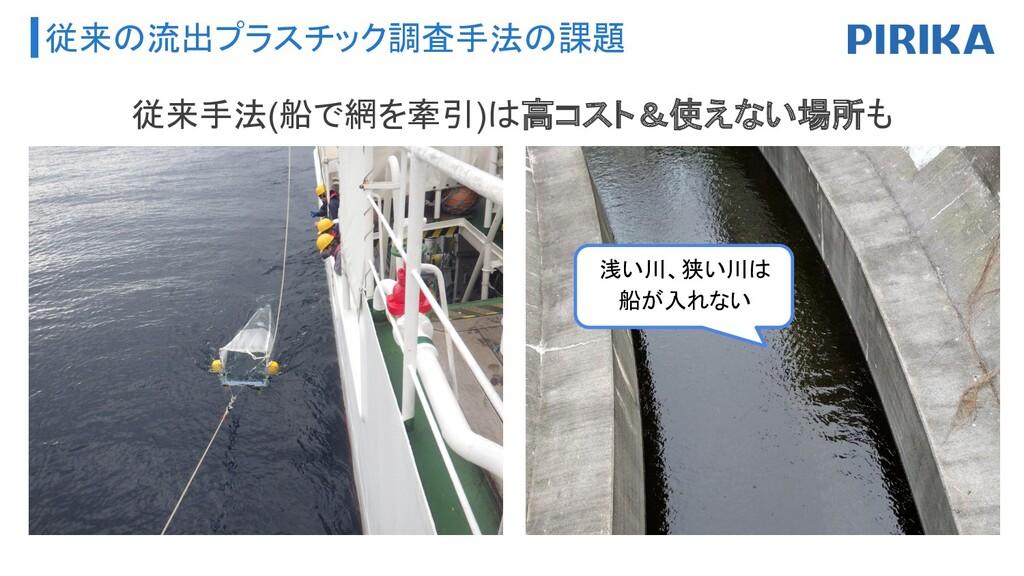 従来の流出プラスチック調査手法の課題 従来手法(船で網を牽引)は高コスト&使えない場所も 浅い...