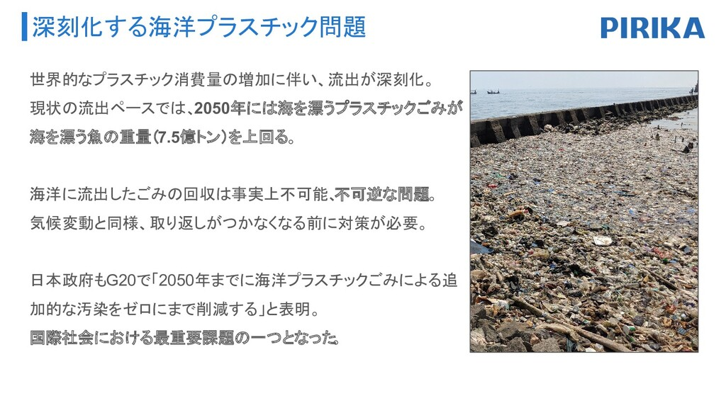 深刻化する海洋プラスチック問題 世界的なプラスチック消費量の増加に伴い、流出が深刻化。 現状の...