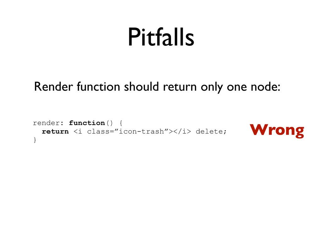 Pitfalls Render function should return only one...