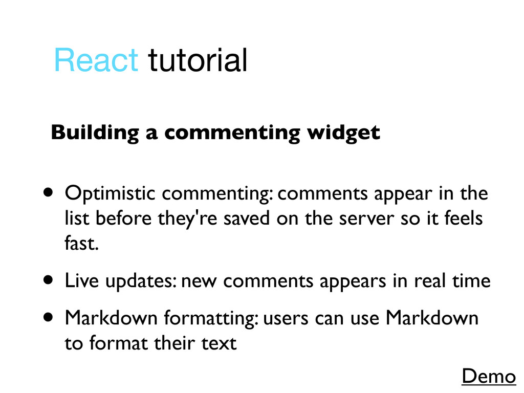 React tutorial • Optimistic commenting: comment...
