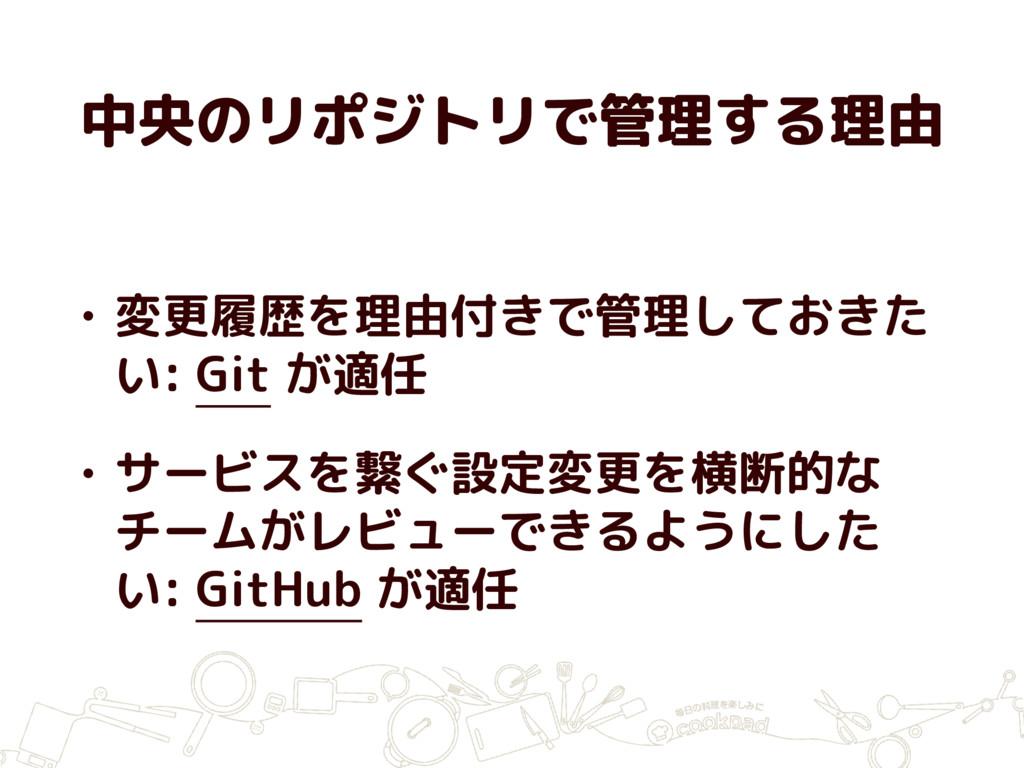 中央のリポジトリで管理する理由 • 変更履歴を理由付きで管理しておきた い: Git が適任 ...