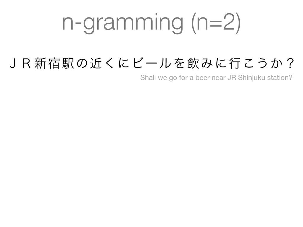 n-gramming (n=2) ̧̟৽॓Ӻͷۙ͘ʹϏʔϧΛҿΈʹߦ͜͏͔ʁ Shall we...