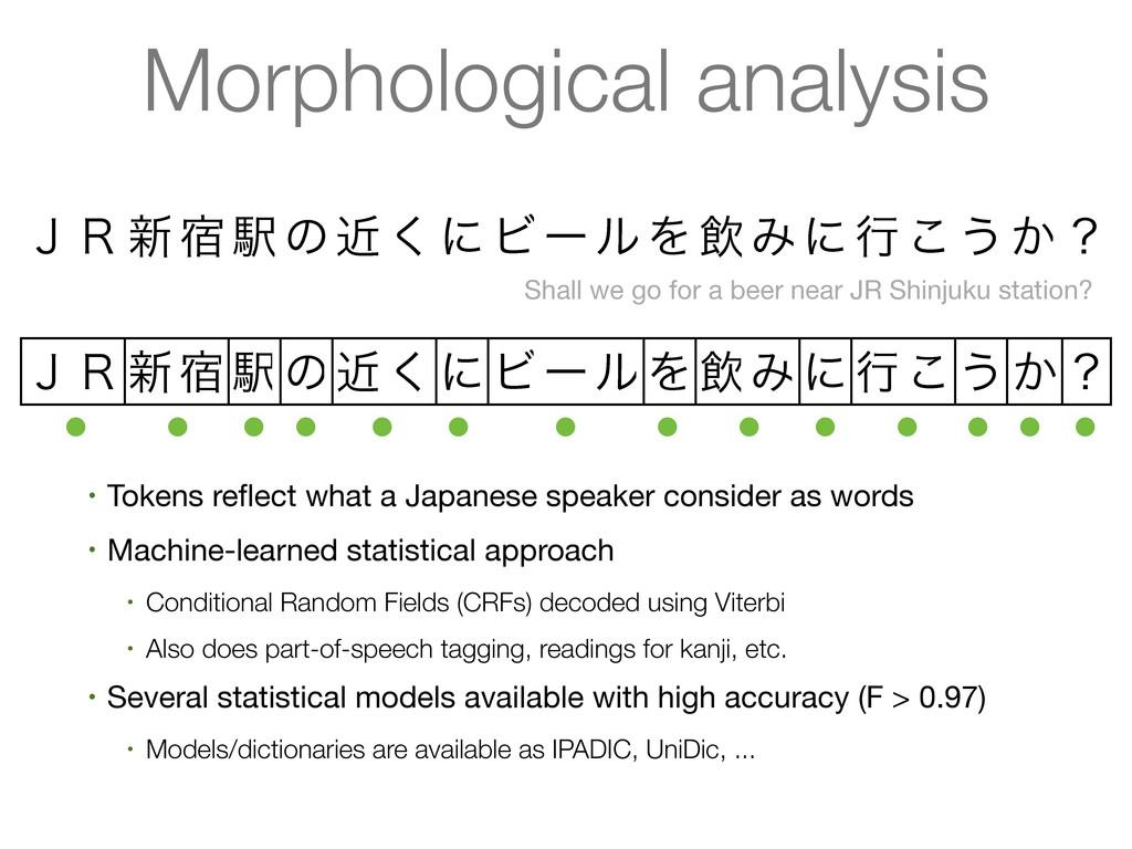 Morphological analysis ̧̟৽॓Ӻͷۙ͘ʹϏʔϧΛҿΈʹߦ͜͏͔ʁ ̧̟...