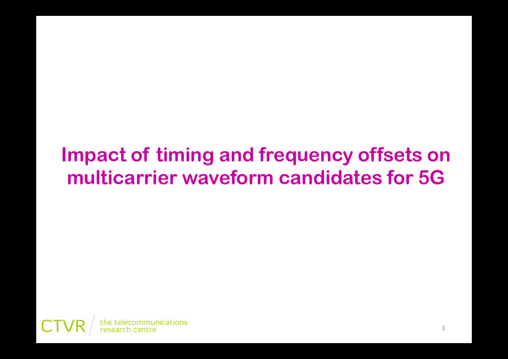 """1"""" Impact of timing and frequency offsets on mu..."""