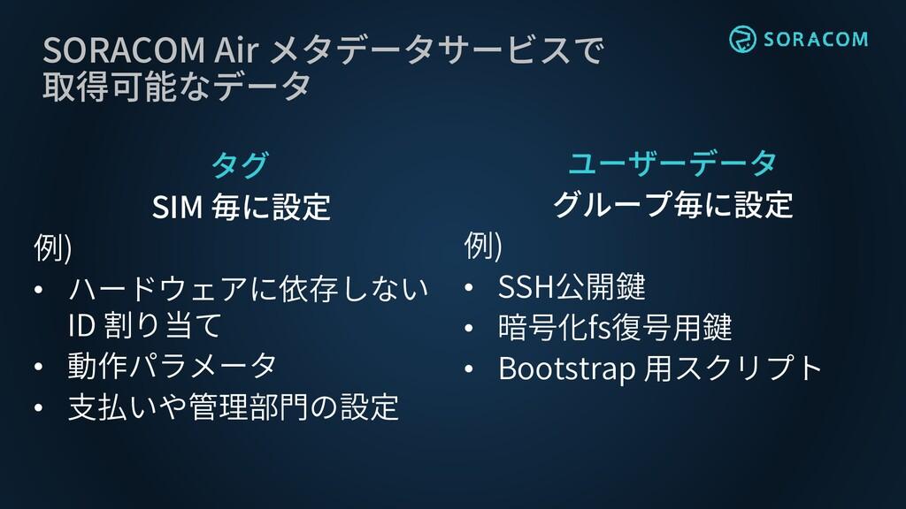 SORACOM Air メタデータサービスで 取得可能なデータ タグ SIM 毎に設定 例) ...