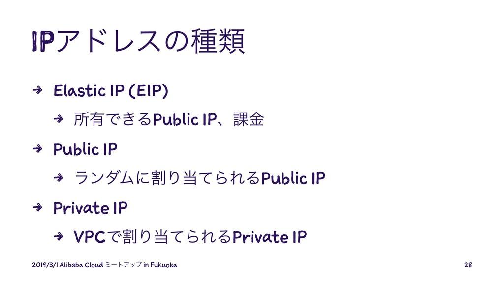 IPΞυϨεͷछྨ 4 Elastic IP (EIP) 4 ॴ༗Ͱ͖ΔPublic IPɺ՝...
