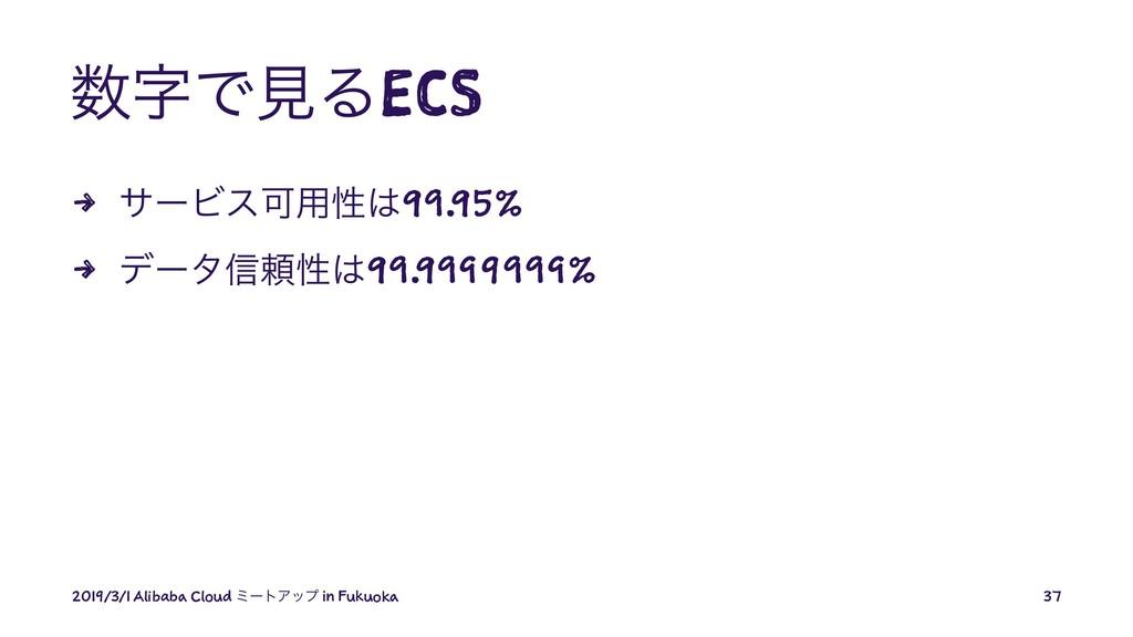 ͰݟΔECS 4 αʔϏεՄ༻ੑ99.95% 4 σʔλ৴པੑ99.9999999% ...