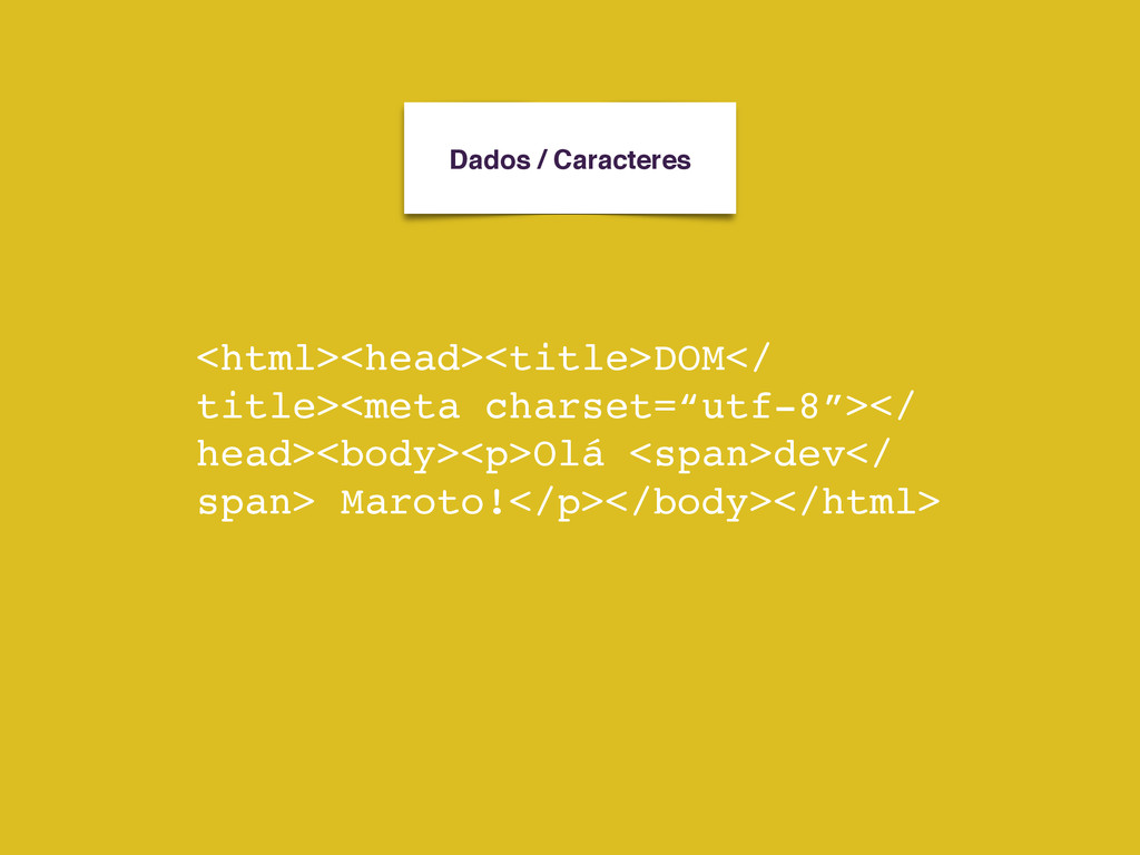 Dados / Caracteres <html><head><title>DOM</ tit...