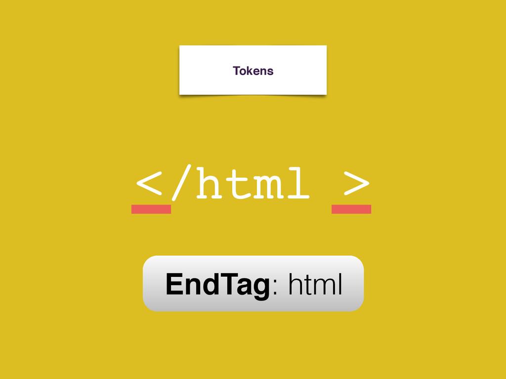 Tokens < html > StartTag: html / EndTag: html