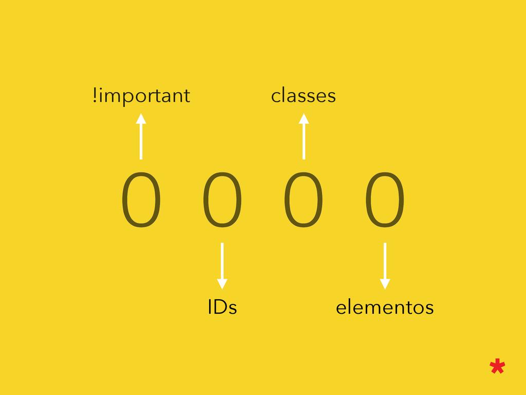 0 0 0 0 elementos IDs classes !important