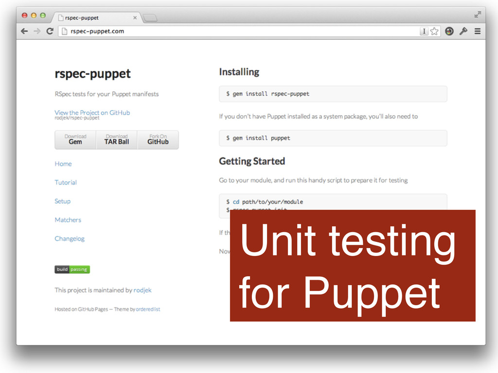 Unit testing for Puppet
