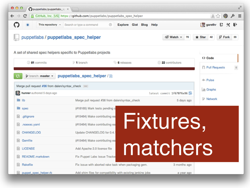 Fixtures, matchers