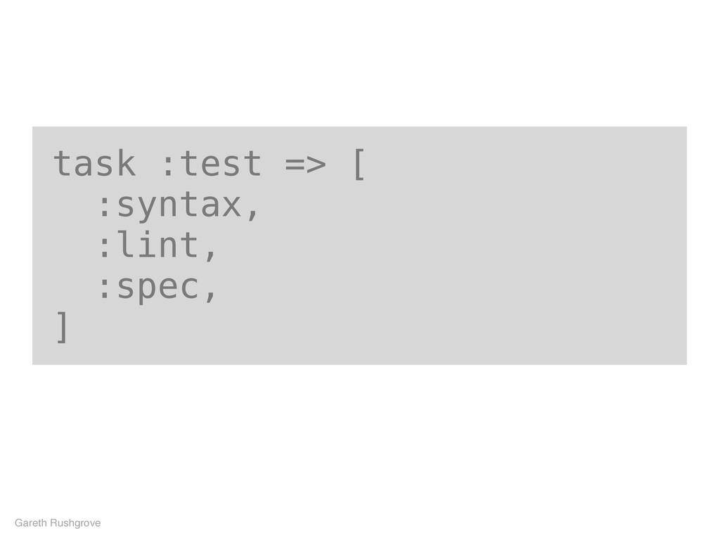task :test => [ :syntax, :lint, :spec, ] Gareth...