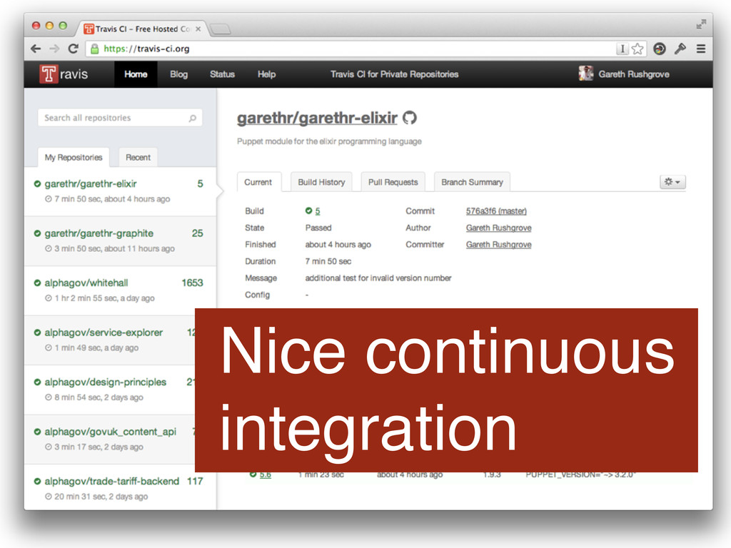 Nice continuous integration
