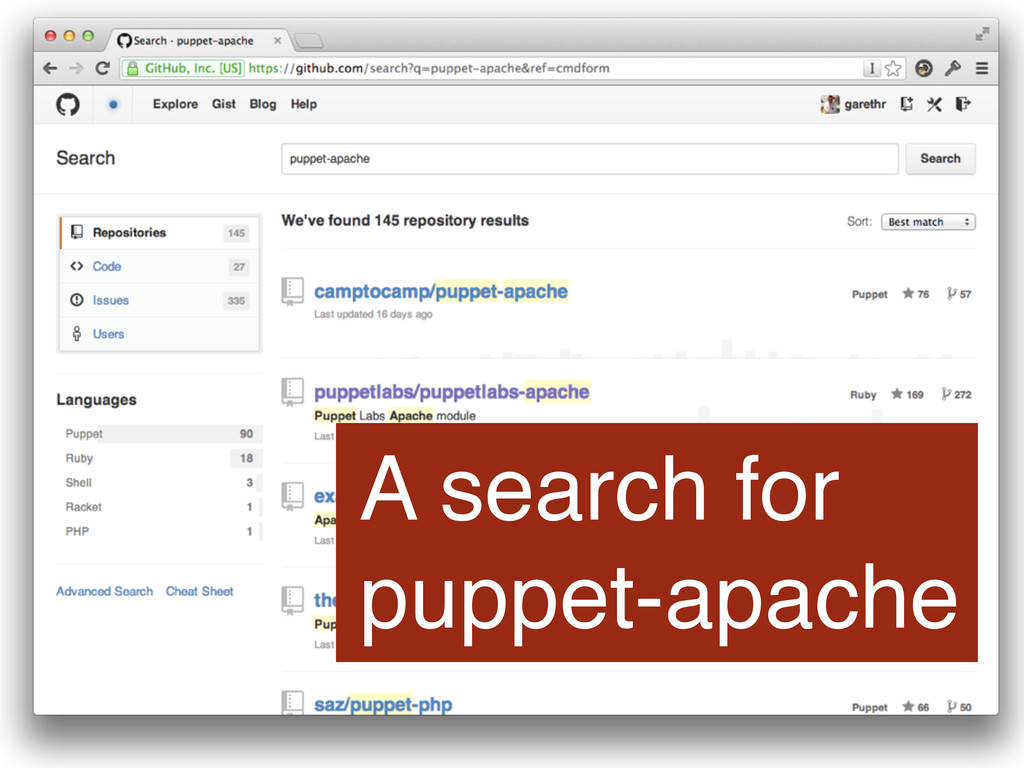 A search for puppet-apache