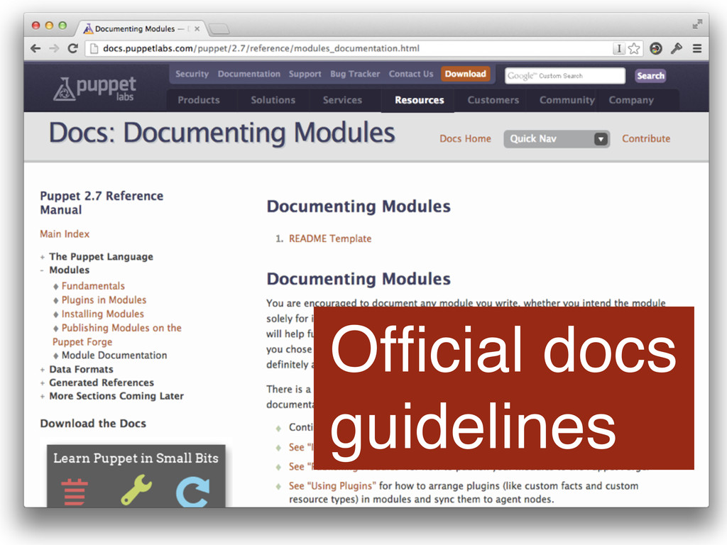 Official docs guidelines