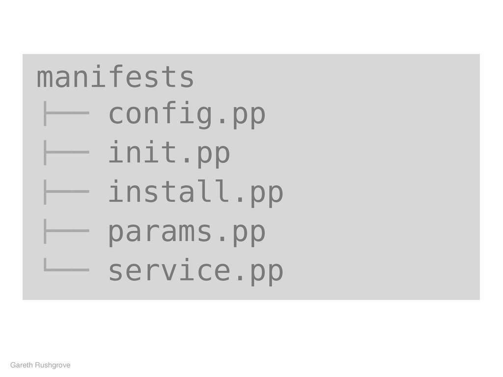 "manifests !"""" config.pp !"""" init.pp !"""" install..."