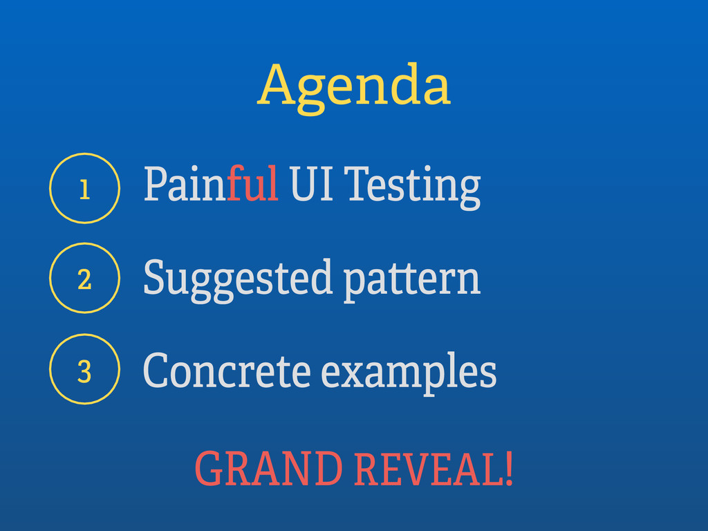 Agenda Painful UI Testing Suggested pattern Con...