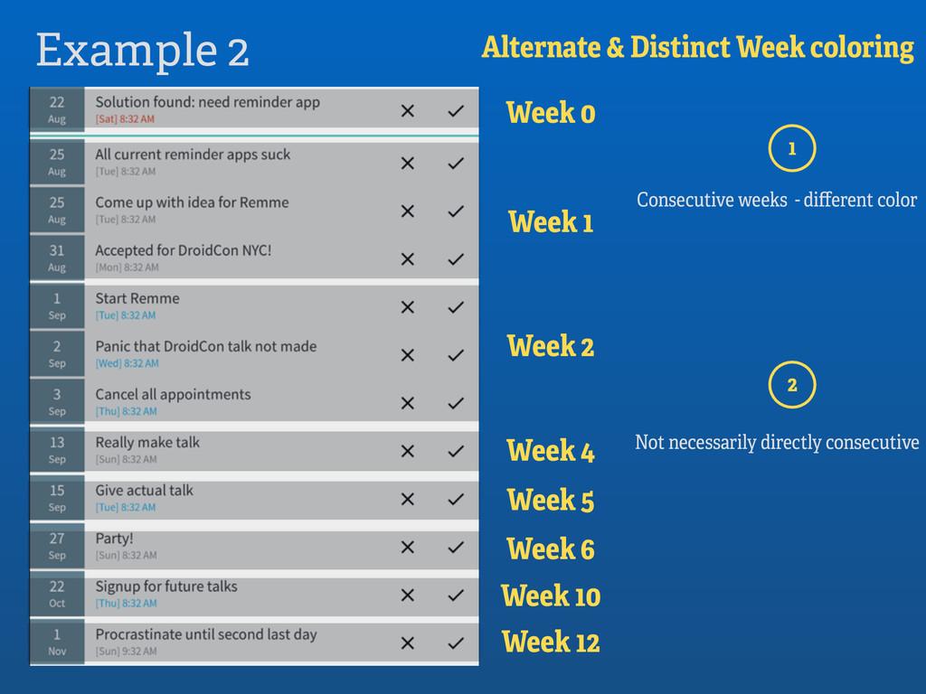 Example 2 Alternate & Distinct Week coloring We...