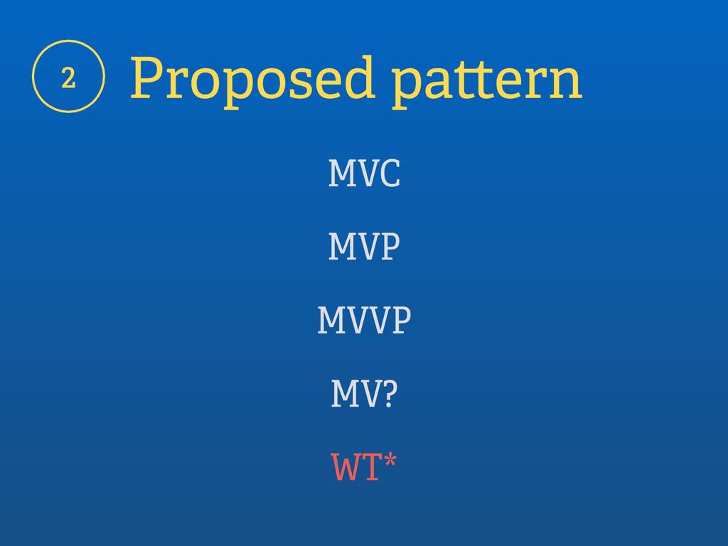 2 Proposed pattern MVC MVP MVVP MV? WT*