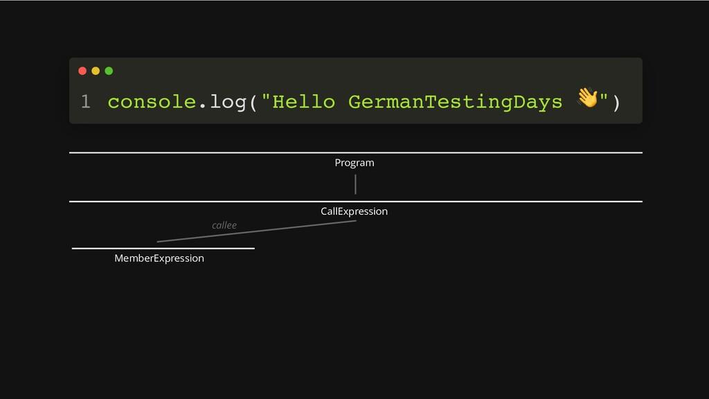 "console.log(""Hello GermanTestingDays 👋 "") 1 Pro..."